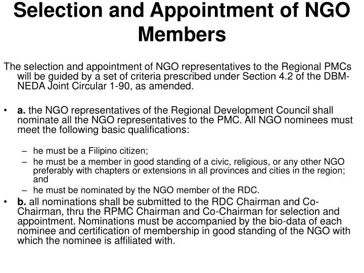 Selection and Appointment of NGO Members