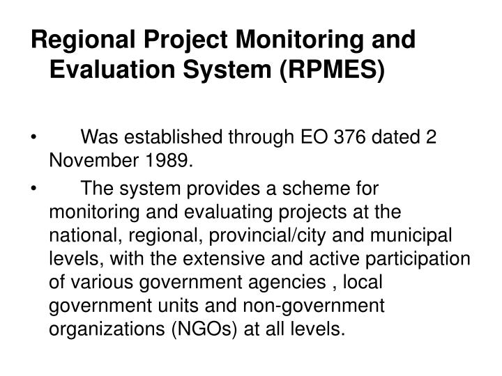 Regional Project Monitoring and Evaluation System (RPMES)
