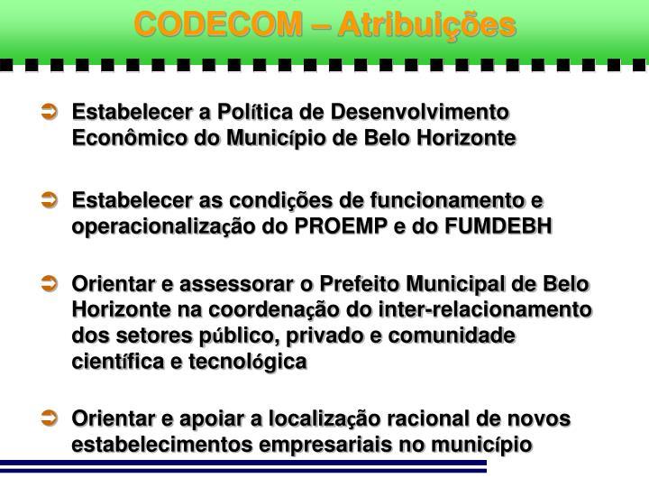 CODECOM – Atribuições