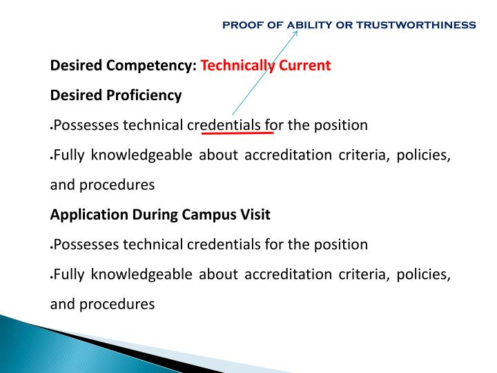 proof of ability or trustworthiness