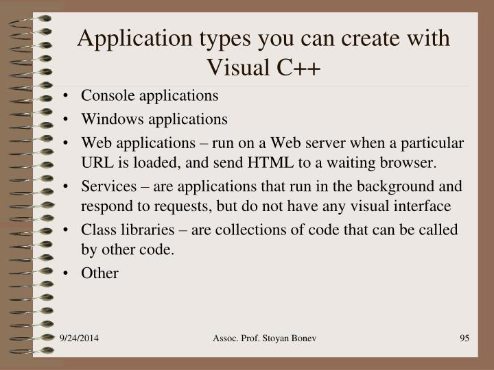 Application types you can create with Visual C++