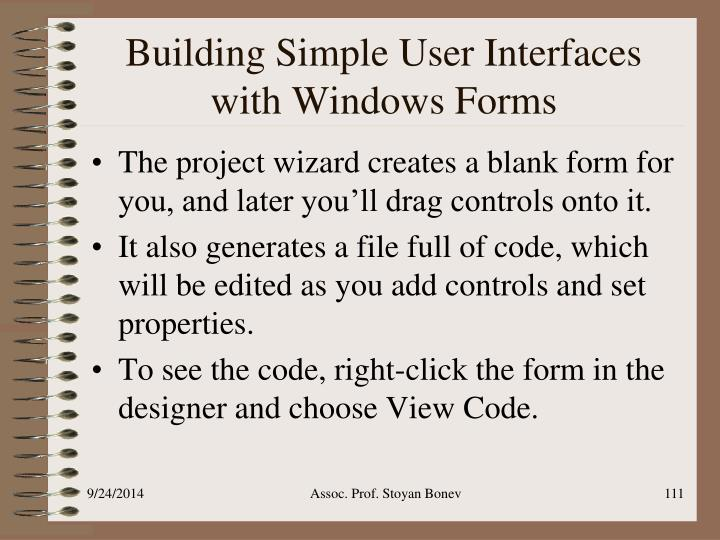 Building Simple User Interfaces with Windows Forms