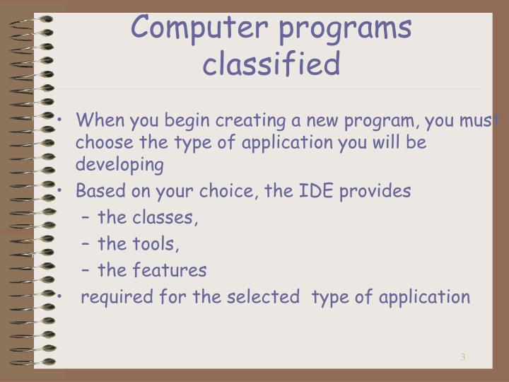 Computer programs classified