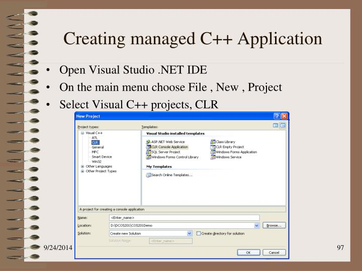 Creating managed C++ Application