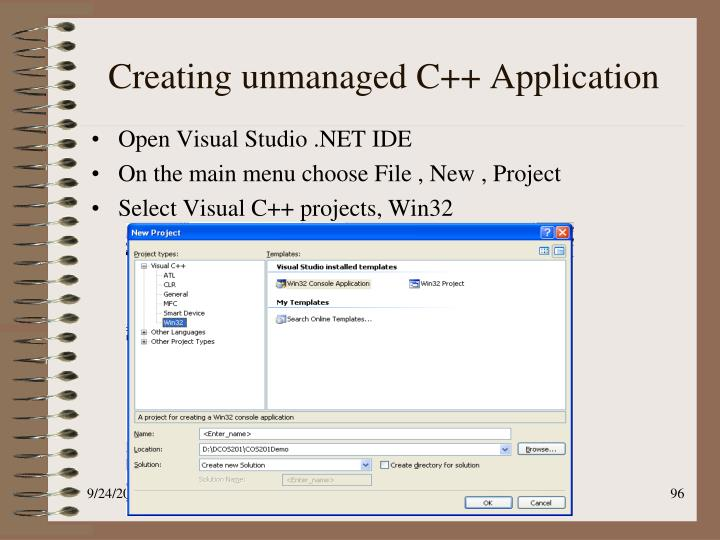 Creating unmanaged C++ Application