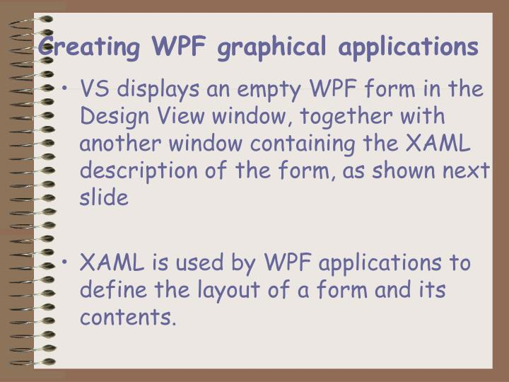 Creating WPF graphical applications