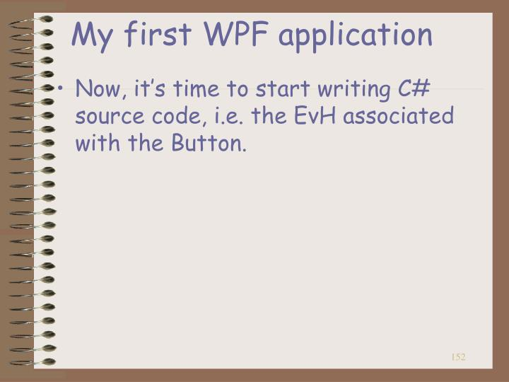 My first WPF application