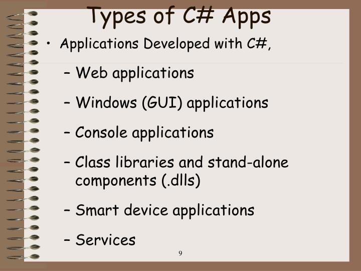 Types of C# Apps