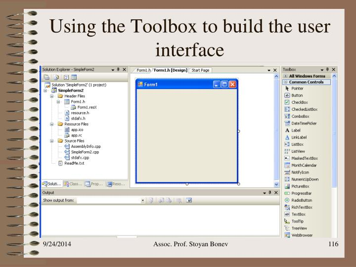 Using the Toolbox to build the user interface