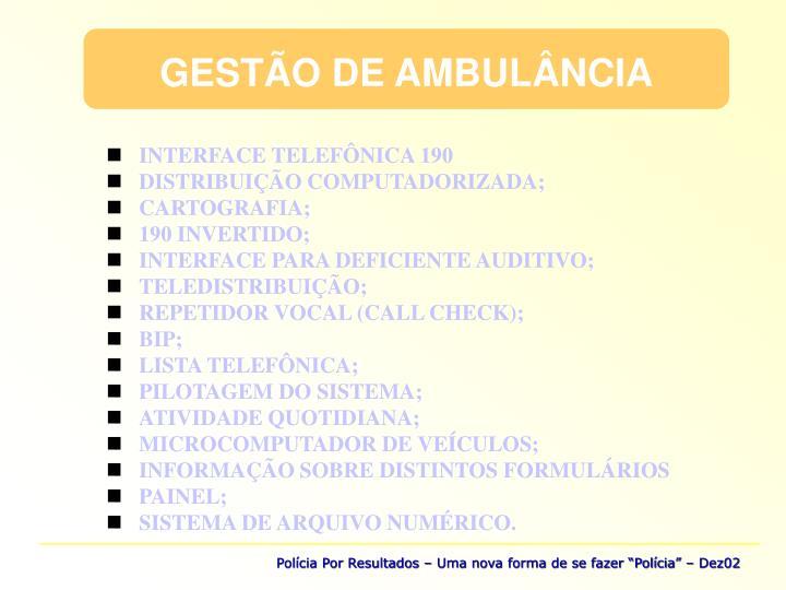 GESTÃO DE AMBULÂNCIA