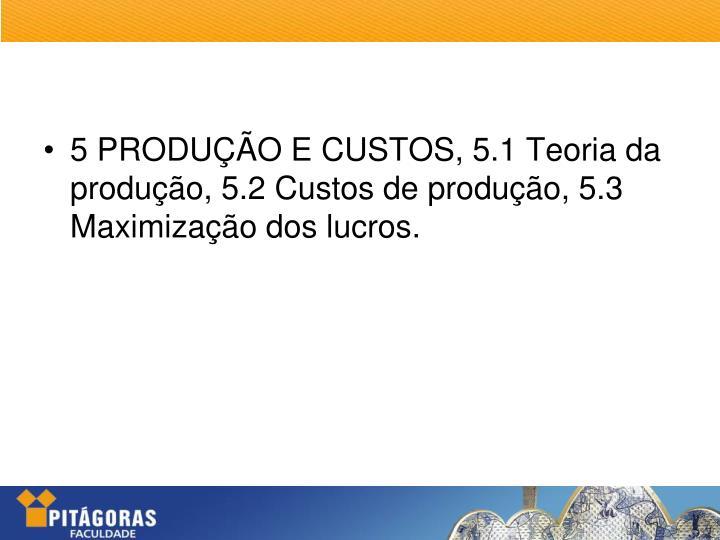 5 PRODUÇÃO E CUSTOS, 5.1 Teoria da produção, 5.2 Custos de produção, 5.3 Maximização dos lucros.