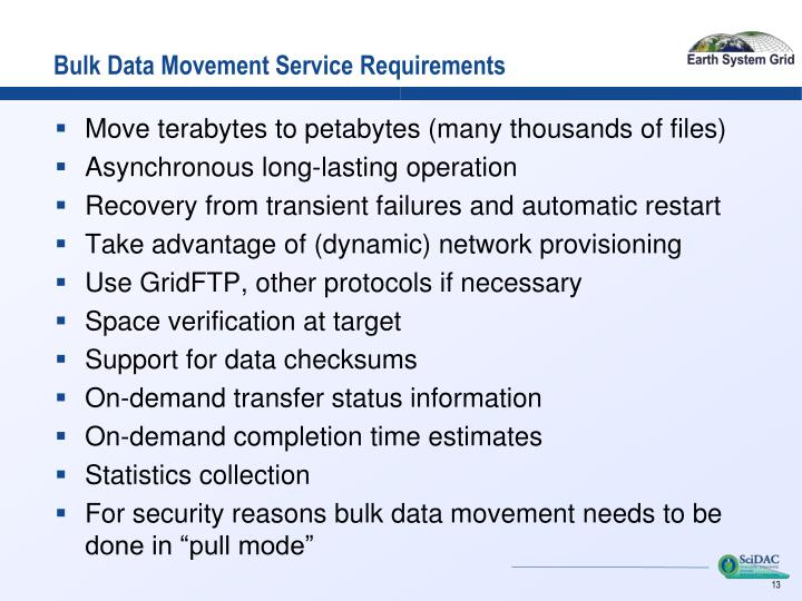 Bulk Data Movement Service Requirements