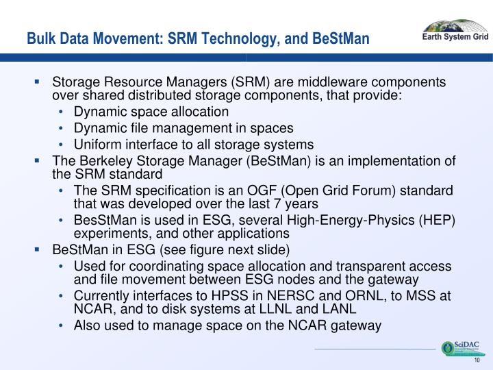 Bulk Data Movement: SRM Technology, and BeStMan