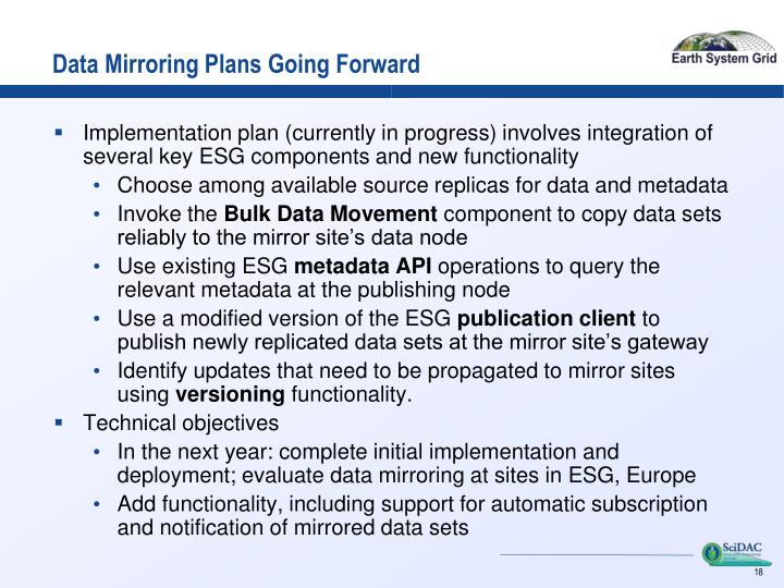 Data Mirroring Plans Going Forward