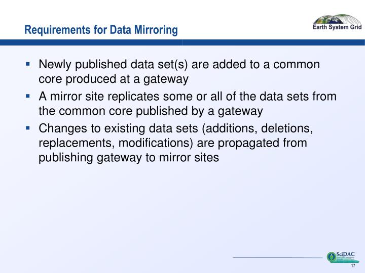 Requirements for Data Mirroring