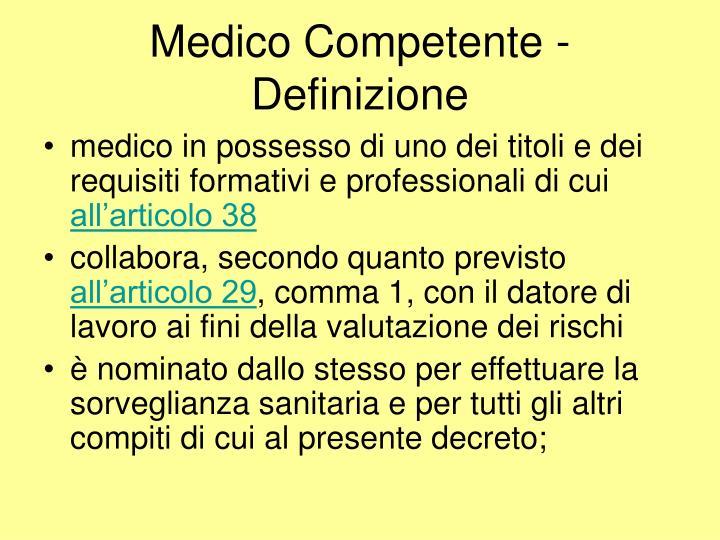 Medico Competente - Definizione