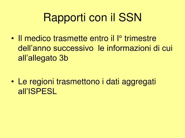 Rapporti con il SSN