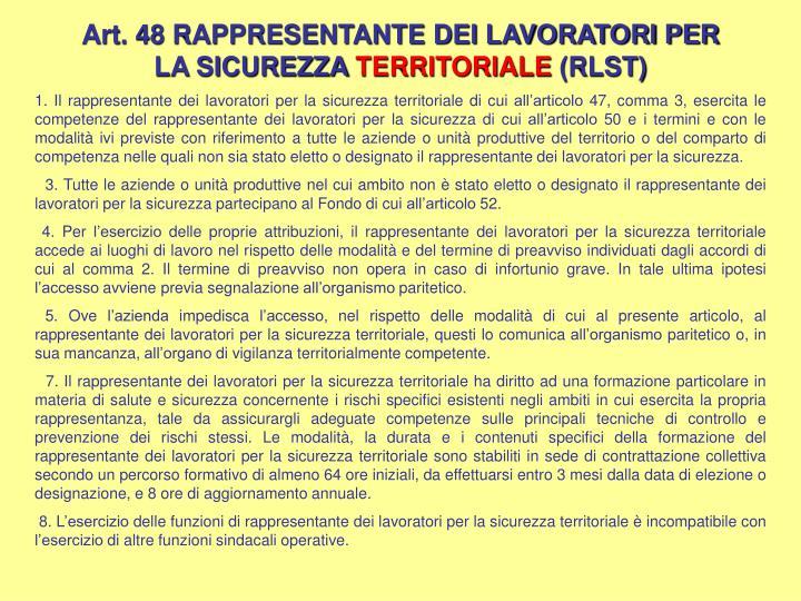 Art. 48 RAPPRESENTANTE DEI LAVORATORI PER LA SICUREZZA