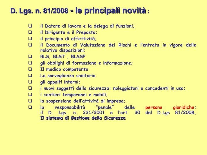 D. Lgs. n. 81/2008