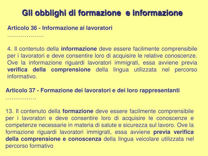 Gli obblighi di formazione  e informazione