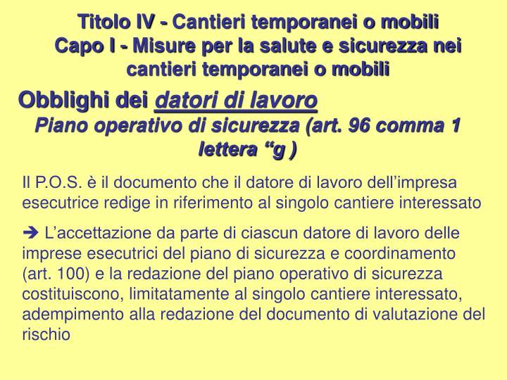 Titolo IV - Cantieri temporanei o mobili