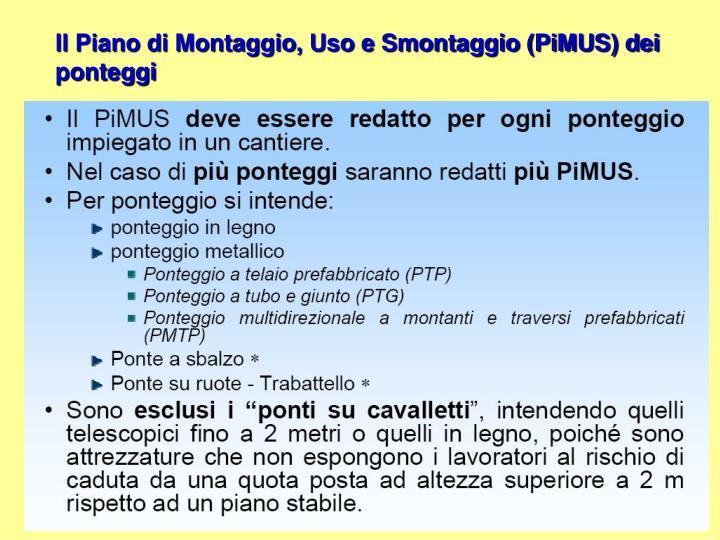 Il Piano di Montaggio, Uso e Smontaggio (PiMUS) dei ponteggi