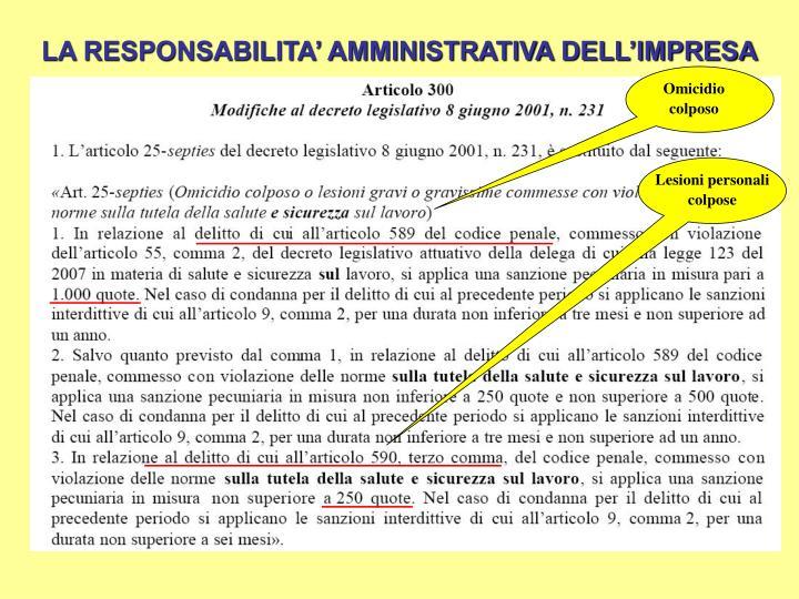 LA RESPONSABILITA' AMMINISTRATIVA DELL'IMPRESA