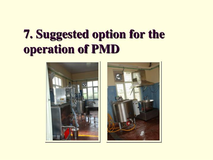 7. Suggested option for the operation of PMD