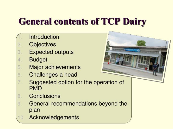 General contents of TCP Dairy