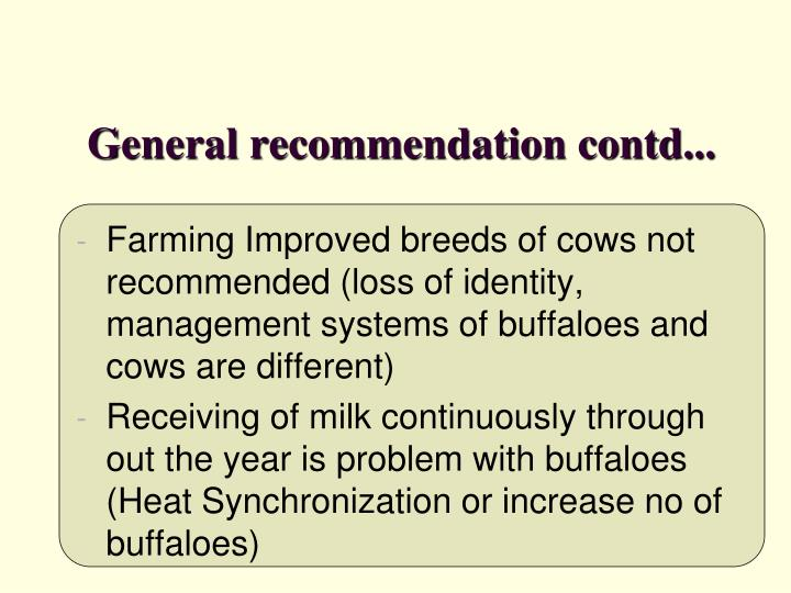 General recommendation contd...