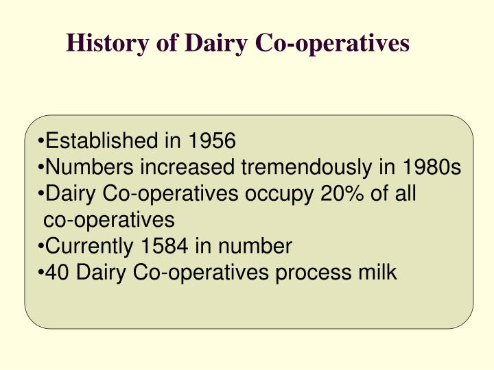 History of Dairy Co-operatives