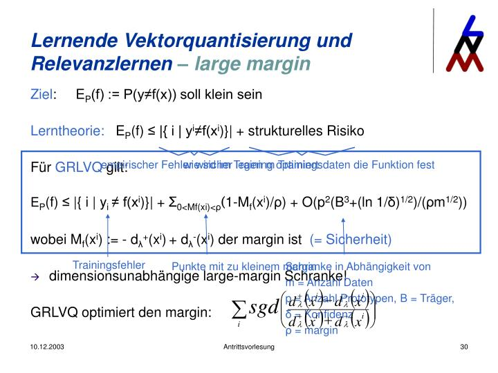 Lernende Vektorquantisierung und Relevanzlernen
