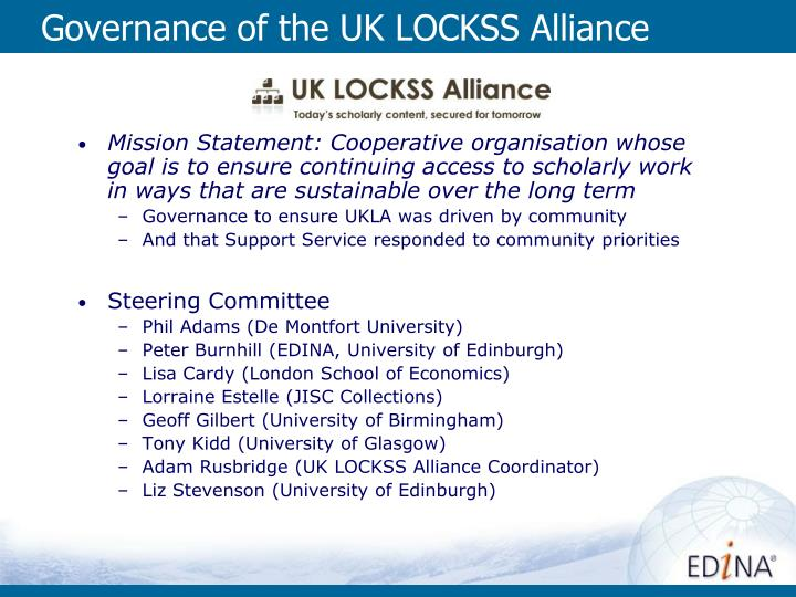 Governance of the uk lockss alliance