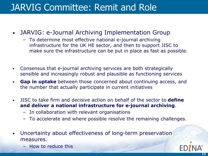 JARVIG Committee: Remit and Role
