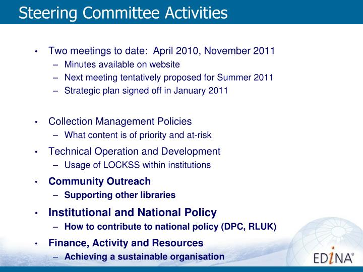 Steering Committee Activities