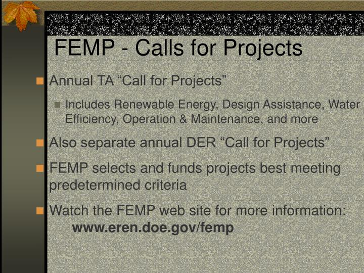 FEMP - Calls for Projects