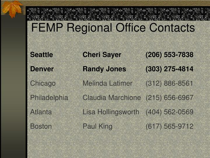 FEMP Regional Office Contacts