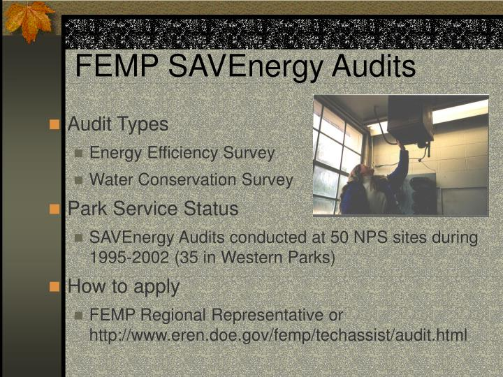 FEMP SAVEnergy Audits