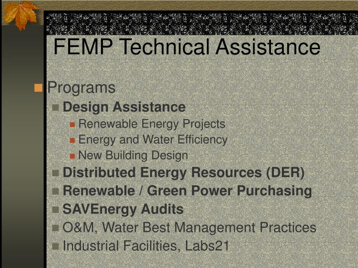 FEMP Technical Assistance