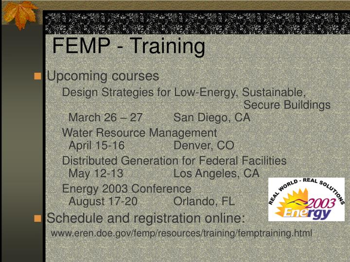 FEMP - Training