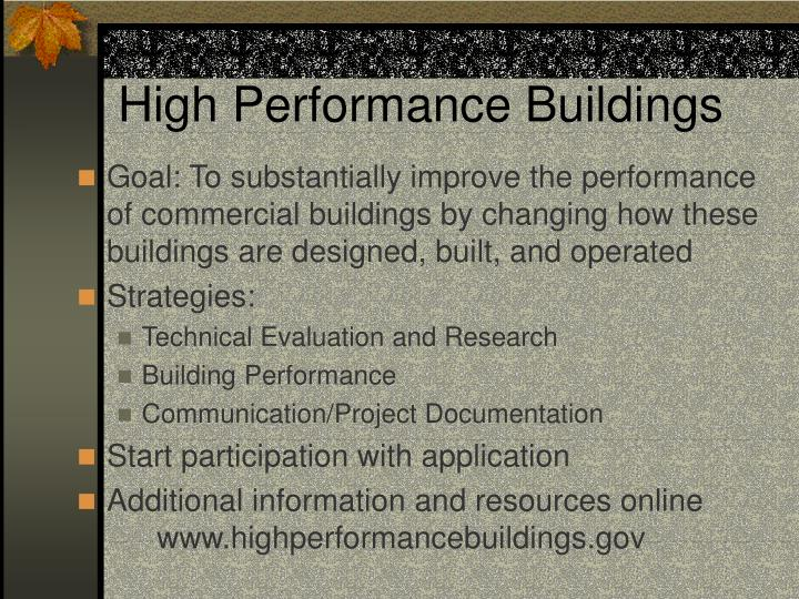 High Performance Buildings