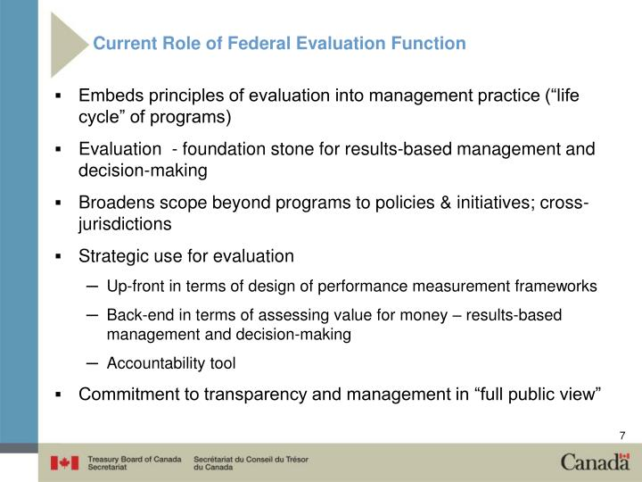 Current Role of Federal Evaluation Function