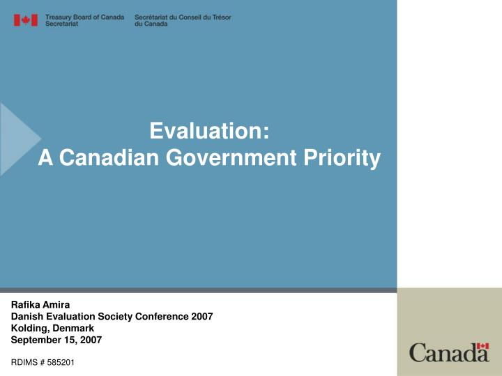 Evaluation a canadian government priority