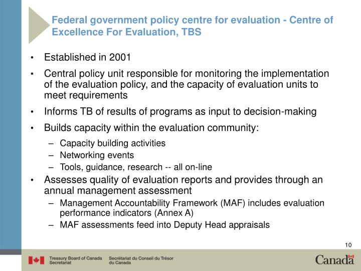 Federal government policy centre for evaluation - Centre of Excellence For Evaluation, TBS
