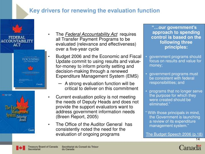 Key drivers for renewing the evaluation function