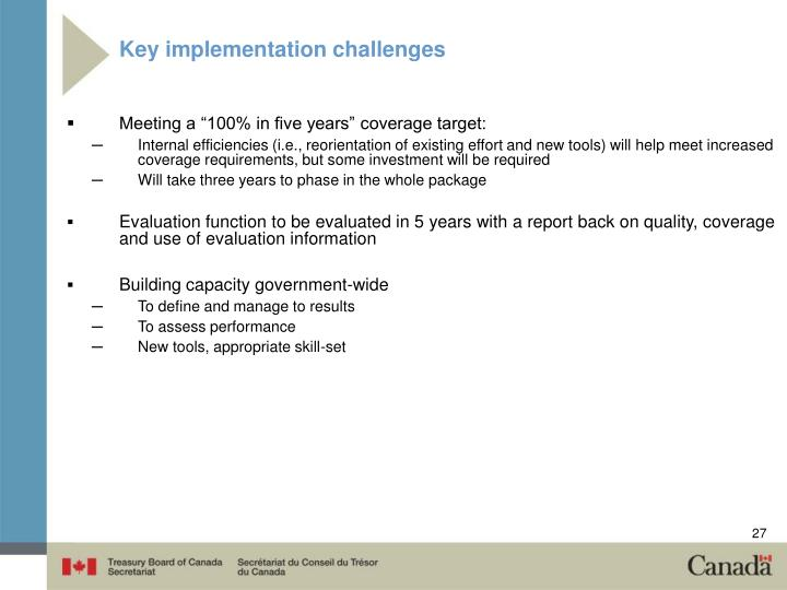 Key implementation challenges