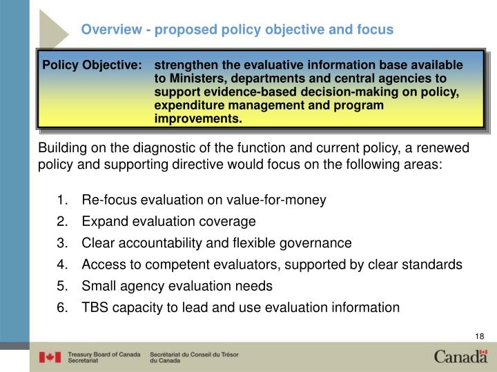 Overview - proposed policy objective and focus