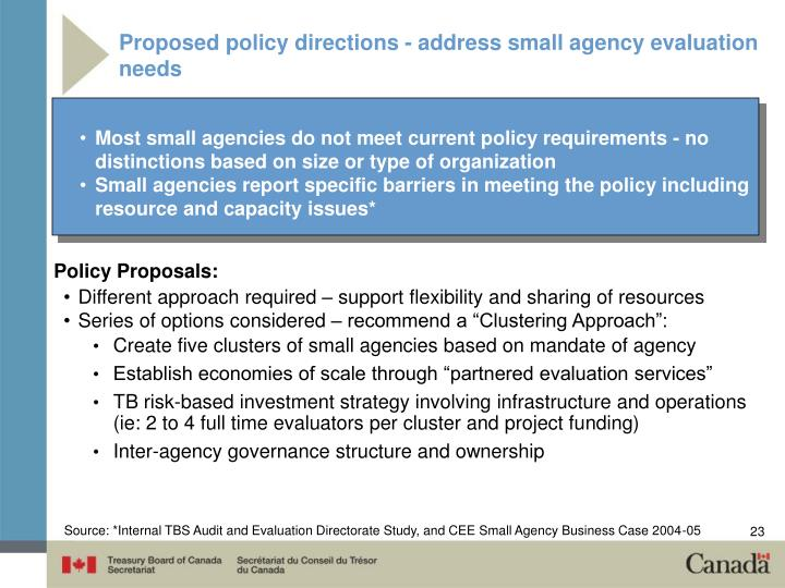 Proposed policy directions - address small agency evaluation needs