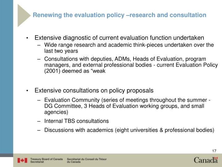 Renewing the evaluation policy –research and consultation