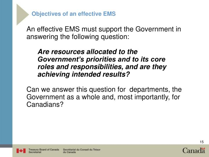 Objectives of an effective EMS